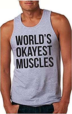 Worlds Okayest Muscles Tank Top Funny Flexing Gym Fitness Humor Sleeveless Tee