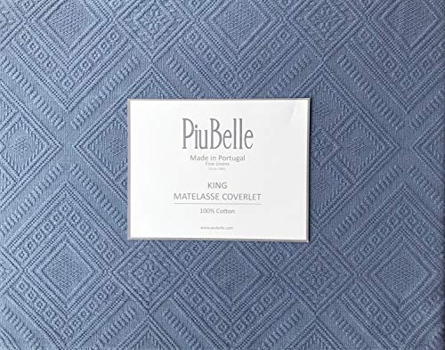 Piu Belle Portugal Solid Blue Matelasse Bedspead Coverlet with a Textured Woven Geometric Diamond Pattern (King)