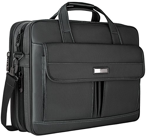 Laptop Bag 15.6 Inch,Water Resistant Briefcase, 15inch Expandable Messenger Shoulder Bag with Strap, Nicedirect Carry On Handle Case for Computer/Notebook/Tablet for Business Men/Women, Black