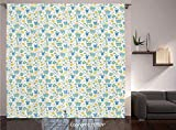 Thermal Insulated Blackout Window Curtain [ Baby,Retro Newborn Items Stroller Rubber Duck Milk Bottle Pin Pyjamas Pattern Decorative,Blue Yellow Mint Green ] for Living Room Bedroom Dorm Room Classroo