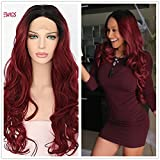 Black Root Ombre Red Queen Women Daily Makeup Synthetic Lace Front Wigs Review