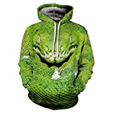 Cool Snake 3D Green Viper Print Pullover Hody Tops Autumn Sportswear Tracksuit Hooded Sweatshirt