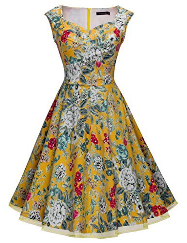 HOMEYEE B003 - Vestido fiesta, estilo vintage, año 1950 Yellow with Flower