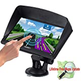 Xgody Portable Truckers GPS with Sun Shade Capacitive Touch Screen 8GB ROM 7 Inch Car GPS Navigation System BT SAT NAV with Lifetime Maps for Canada (715BT+SC)