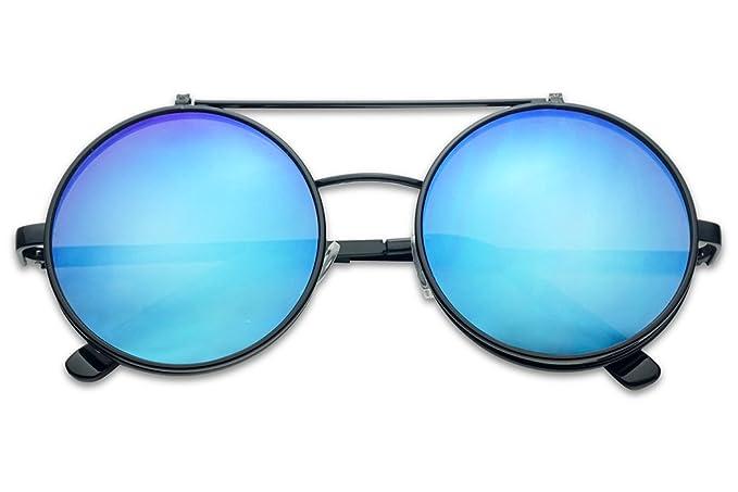e60a3b73fa Round Mid-Size 55mm Flip-Up Color Reflective Mirrored Uv Clear Lens Django  Sunglasses