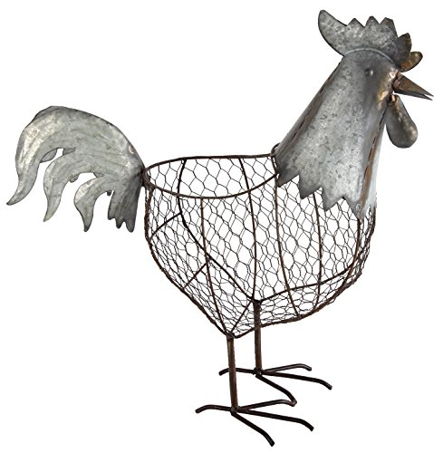A&B Home 37541 Metal And Wire Rooster Basket