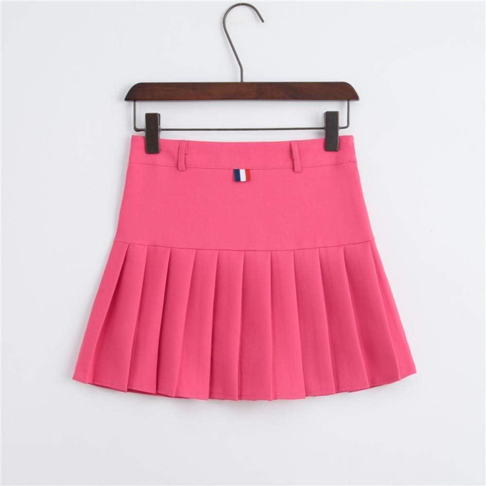 HEHEAB Falda,Rosa Roja En La Primavera Y El Verano Las Mujeres Coreanas De Cintura Alta Falda Plisada Mini Tenis Niñas Falda Falda Falda Corta La Escuela Cuero Cosplay