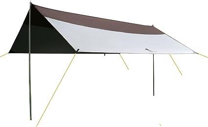 2,1 kg GEERTOP Sonnensegel Tarp Au/ßenzelt Wasserdicht 4-7 Personen f/ür Camping 440x410 cm - Inklusiv Zeltstangen