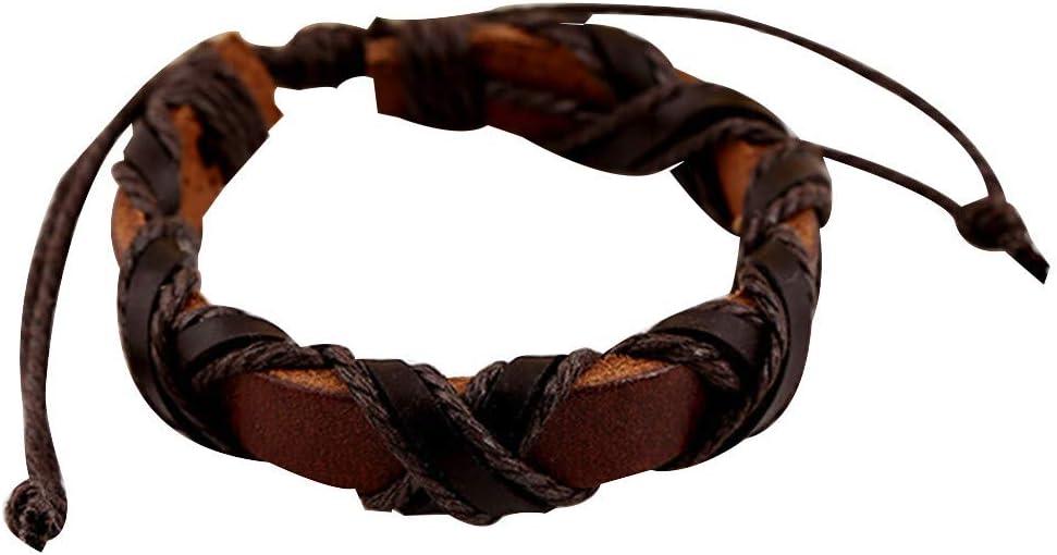 Vintage Bracelets for Women Men Personalized Handmade Multilayer Weave Adjustable Bangle Bracelet Jewelry Gift