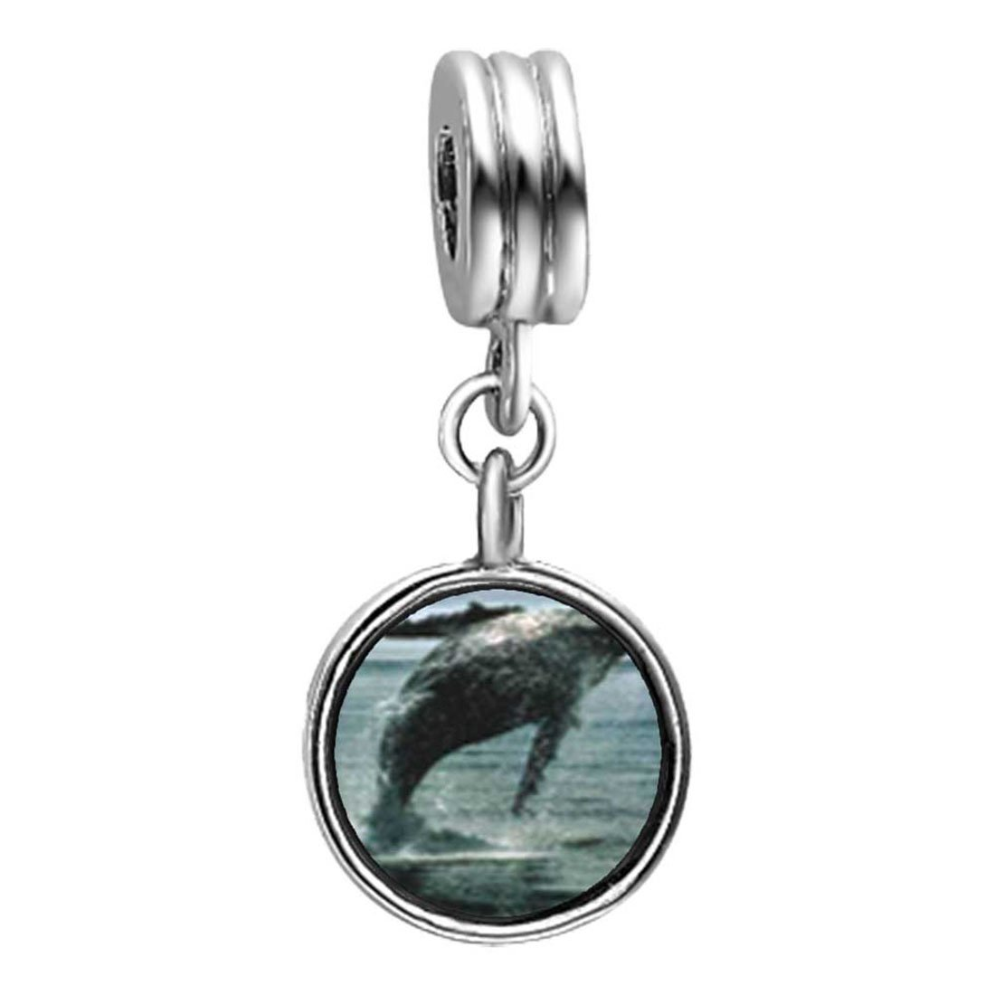 GiftJewelryShop Humpback Whale Over Ocean Photo Red Siam Crystal January Birthstone Flower Dangle Charm Bracelets