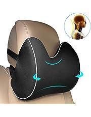 Feagar Auto Nackenkissen für kopfstütze, orthopädische nackenstütze Aus Memory Foam Schaumstoff, Reisekissen & Cervical Kissen zur Linderung Nackenschmerzen, Schwarz