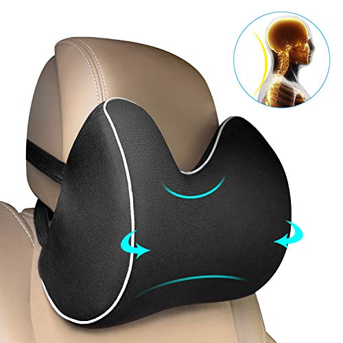 Feagar Car Seat Neck Pillow, Headrest Cushion for Neck Pain Relief&Cervical Support with 2 Adjustable Straps and Washable Cover,100% Pure Memory Foam and Ergonomic Design(Black Car Neck Pillow)
