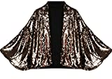 Generic Women Fashional Sequins Outerwear Sexy Batwing Sleeve Blazers Golden S