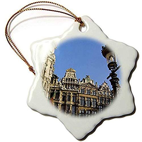 Boyce22Par 3-Inch Porcelain Snowflake Decorative Hanging Ornament, Belgium, Brussels, Grand Place, Guild Houses EU Jen Jim Engelbrecht Brussels Grand Places House