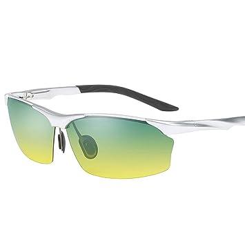 Gafas de sol para hombres Deportes de conducción Día y noche Gafas polarizadas de aleación de aluminio y magnesio de doble uso (Color : Silver frame): ...
