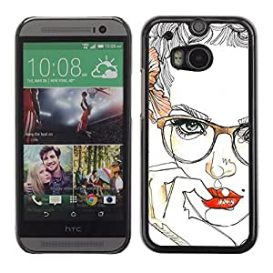 Colorful Printed Hard Protective Back Case Cover Shell Skin for HTC One M8 ( Lips Glasses Roses Floral Sexy Woman )