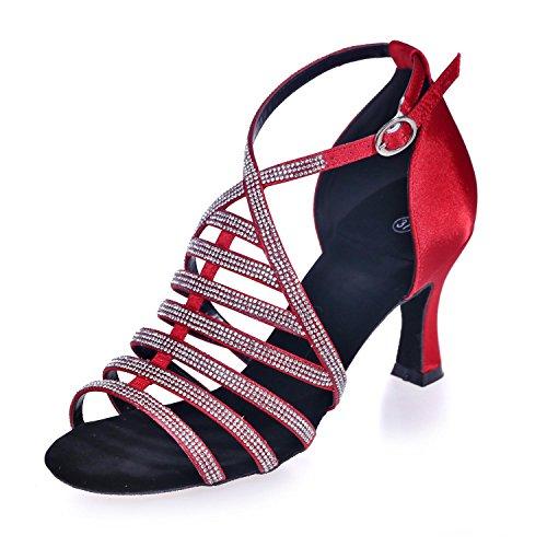 L@YC arco De Cuero artificial Para Mujer Con LatíN / Baile De SalóN Diamante Zapatos De Baile 8349-24a Personalizable Red