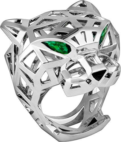 (Panther 14k White Gold Pear Green Emerald Eyes Black Nose Wedding Anniversary Panthere Ring for Men & Women, All US Size 5 to 24 available,Message us Your Ring Size)