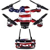 Skin for DJI Spark Mini Drone Combo - American Flag| MightySkins Protective, Durable, and Unique Vinyl Decal wrap cover | Easy To Apply, Remove, and Change Styles | Made in the USA