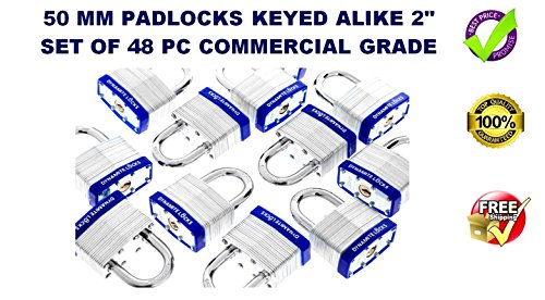 48 PC PIECE SET 50MM HEAVY DUTY DYNAMITE LOCKS KEYED ALIKE PAD LOCKS SHORT SHACKLE LAMINATED PADLOCK KEY ALIKE COMMERCIAL GRADE MULTIPLE PAD LOCKS KEYEDALIKE ALL THE SAME PADLOCKS … (Shackle Short)