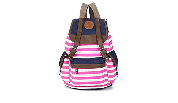 68923b287f Marrywindix Unisex Canvas Backpack School Bag Vintage Stripe College Laptop  Bags Rucksack for Teens Girls Boys Students Outdoor Travel Pink  Amazon.ca   ...