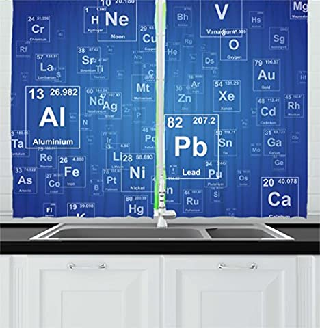 Science Kitchen Curtains by Ambesonne, Chemistry Tv Show Inspired Image with Periodic Element Table Image Print Art, Window Drapes 2 Panels Set for Kitchen Cafe, 55 W X 39 L Inches, Blue and - 55w Tv