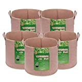 VIVOSUN 5-Pack Heavy Duty Thickened Nonwoven Fabric Pots Grow Bags