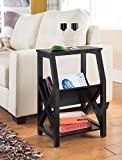 Kings Brand Furniture Black Finish Wood Side End Table with Magazine Rack