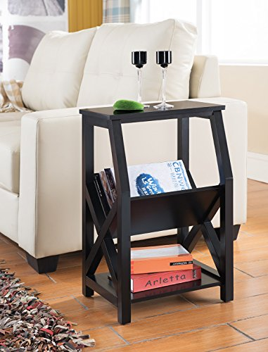 Magazine rack and end table combo