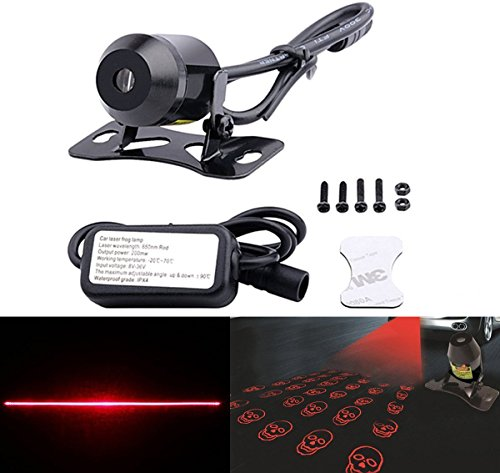 FICBOX 12V Universal Car and Motorcycle Rear-end Alarm Laser Fog Taillight Anti-Collision Warning Lamp (Skull)