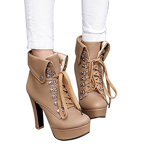 Apricot Boots High Women's Platform PU Ankle Winter Lace Leather Heel Up Booties Martin pF7xBwqnB