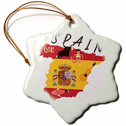 3dRose TNMGraphics Countries - Map of Spain With Flag and Icons - 3 inch Snowflake Porcelain Ornament (orn_286294_1) by 3dRose