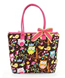 Quilted Cotton Owl Chevron Medium Tote Bag (Brown/Hot Pink)