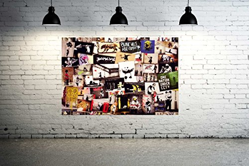 Banksy Street Art Collection Huge 36x24 Canvas Print Collage Vol 5 Graffiti - Brainwash Mr Art