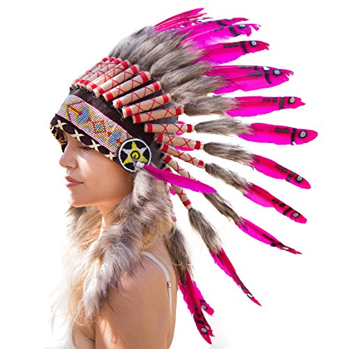 Indian Style Headdress | Native American Style Headdress | Novum Crafts | Pink (Feathered Headdress)