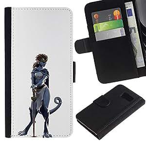 // PHONE CASE GIFT // Moda Estuche Funda de Cuero Billetera Tarjeta de crédito dinero bolsa Cubierta de proteccion Caso Samsung Galaxy S6 / Dinosaur Warrior Woman /