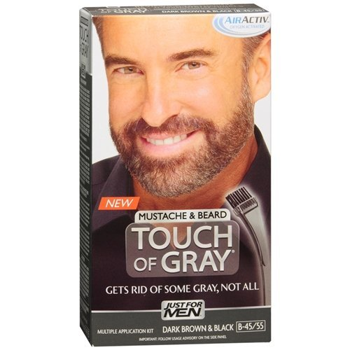 Mustache & Beard Haircolor, Dark Brown & Black B-45/55 1 ea By Just For Men Touch of Gray (Pack of - Black 55