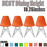 2xhome Set of Four (4) - Plastic Side Chair Chromed Wire Legs Eiffel Legs Dining Room Chair Lounge Chair No Arm Armless Less Seats (Orange)...