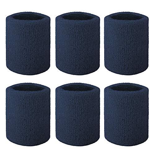 - GOGO 6-Piece Wrist Sweatbands Athletic Cotton Terry Cloth Wristband 3 Sizes-Navy-3 inch