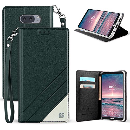 Band Flip Face Wrist Watch (LG V30 Case, Mstechcorp [Kickstand] [Card Slot] PU Leather Folio Flip Wallet Case Cover With Wrist Strap For LG V30 (Black White))