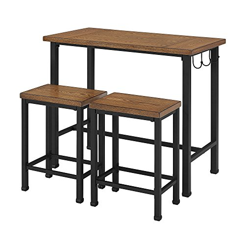 Linon Home Decor Products Pub Table Bar Set 2 Stools Chairs 3 Piece Kitchen Breakfast Nook Dining Bistro by 25 Home Decor (Image #1)