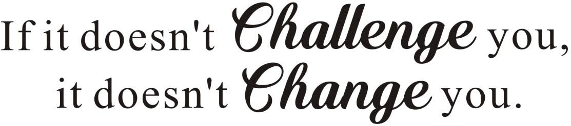 If it Doesn't Challenge You,it Doesn't Change You Mural Quote Inspirational Vinyl Letters&Sayings Gym Workout Motivational Art Decal,(Black) Words Wall Sticker,Excellent Gift