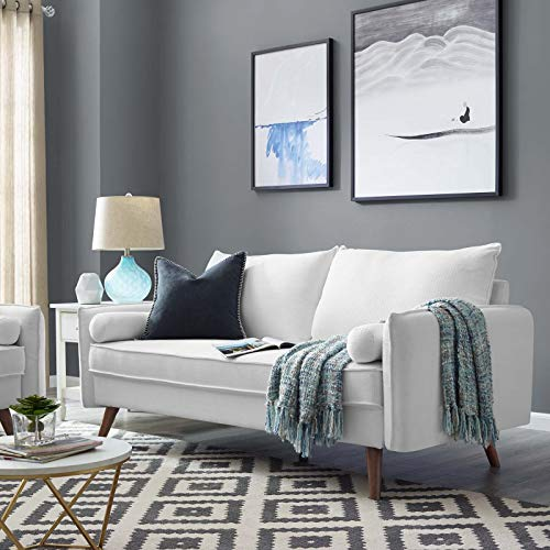 Modway Revive Contemporary Modern Fabric Upholstered Loveseat In White