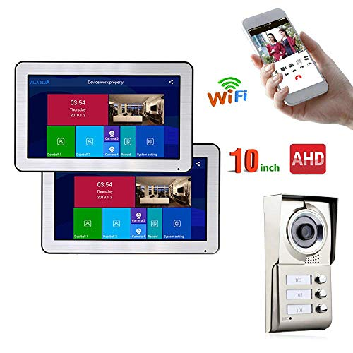 JJML-G Video Intercom System 2 Apartment 10 Inch Recording Cable AHD 720P Video Door Phone Intercom System Smart Doorbell - Videophone Walkie Talkie