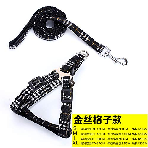Cute pudding Leash,Dog Leash,cat Leash,Leash for Small Dogs,Dog Leash Retractable.Pet Supplies Raccoon pet Nylon Traction Rope Traction pet Chest Strap with pet New, Gold Silk Lattice, 120CM