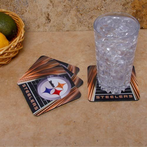 Pittsburgh Steelers 4-Pack Sublimated Logo Neoprene Coaster Set (Pittsburgh Steelers Set Coaster)