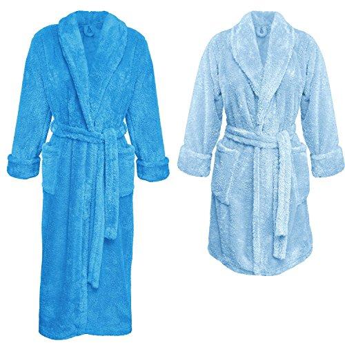 Ein Set bestehend aus 2 Bademänteln ist ein ideales Geschenk, für den gemeinsamen Wohlfühlfaktor in kalten Nächten. (XS-2XL) (XL, blau/hellblau)