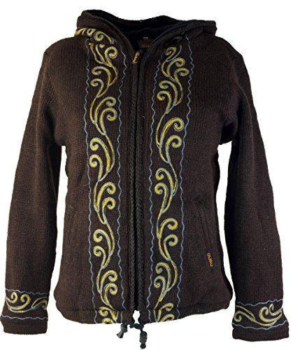 Cordones Chaqueta de punto para tejer lana para mujer nepal Chaqueta/Chaquetas marrón