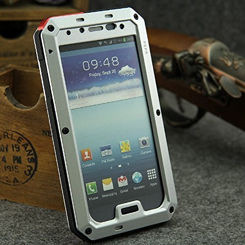 Galaxy S4 Case,Gorilla Glass Luxury Aluminum Alloy Protective Metal Extreme Shockproof Military Bumper Heavy Duty Cover Shell Case Skin Protector for Samsung Galaxy S4 i9500 (Silver)
