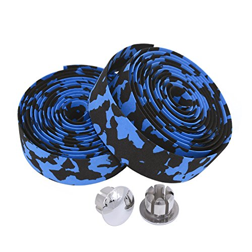 KINGOU Black & Blue Camouflage EVA Road Bike Handlebar Tape Bar Wraps - 2PCS Per Set ()